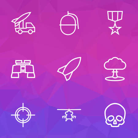 Warfare icons line style set with skull, binoculars, rocket and other bomb elements. Isolated vector illustration warfare icons.