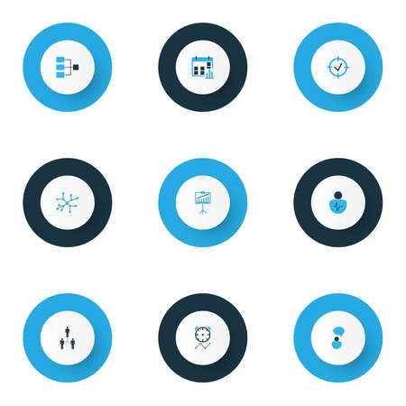 Administration icons colored set with connection network, thinking, personality traits and other idea with discussions elements. Isolated vector illustration administration icons.  イラスト・ベクター素材