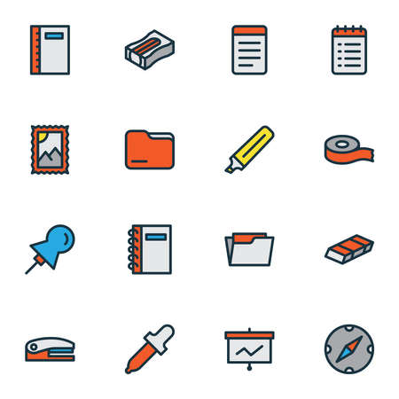 Stationary icons colored line set with presentation board, spiral notebook, pin and other training elements. Isolated vector illustration stationary icons.