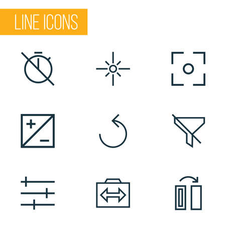 Image icons line style set with mode, sparkle, setting and other exposure elements. Isolated vector illustration image icons.