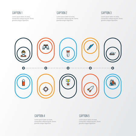 Battle icons colored line set with soldier, refugee, medal and other aiming elements. Isolated vector illustration battle icons.
