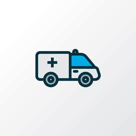First aid car icon colored line symbol. Premium quality isolated ambulance element in trendy style.