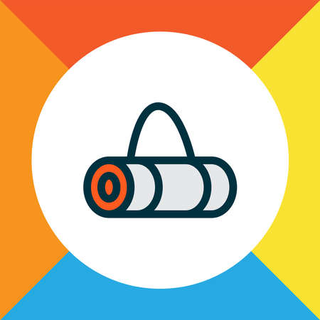 Yoga bag icon colored line symbol. Premium quality isolated mat element in trendy style.  イラスト・ベクター素材