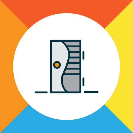Door icon colored line symbol. Premium quality isolated entrance element in trendy style.  イラスト・ベクター素材