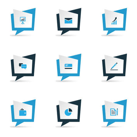 Trade icons colored set with agreement, envelope, talk and other pie chart elements. Isolated vector illustration trade icons.  イラスト・ベクター素材