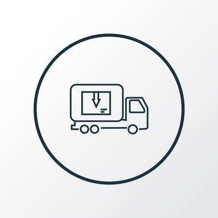 Delivery truck icon line symbol. Premium quality isolated lorry element in trendy style.