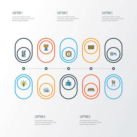 House icons colored line set with wall clock, kitchen scales, coffee table and other teatime elements. Isolated vector illustration house icons.  イラスト・ベクター素材