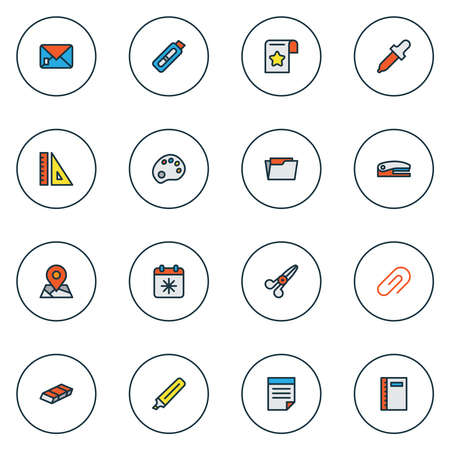 Instrument icons colored line set with eyedropper, stapler, envelope and other rubber elements. Isolated vector illustration instrument icons.