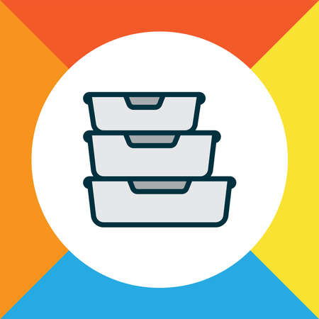 Food containers icon colored line symbol. Premium quality isolated storage element in trendy style.  イラスト・ベクター素材