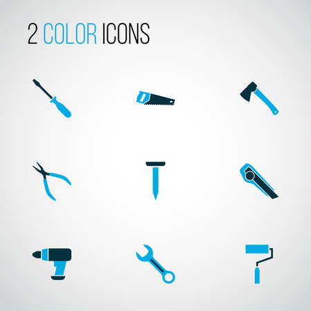 Tools icons colored set with nail, clamp, screwdriver and other bolt elements. Isolated vector illustration tools icons.