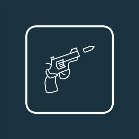 Gun icon line symbol. Premium quality isolated pistol element in trendy style.  イラスト・ベクター素材