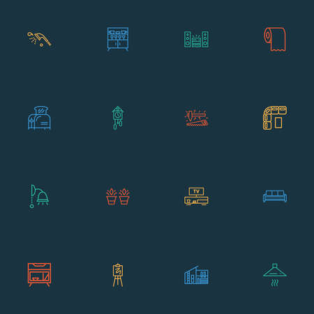 House icons line style set with toilet paper, shower, bedside table and other settee elements. Isolated vector illustration house icons. Ilustración de vector