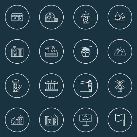 City icons line style set with storefront, forest, power tower and other barn elements. Isolated illustration city icons.