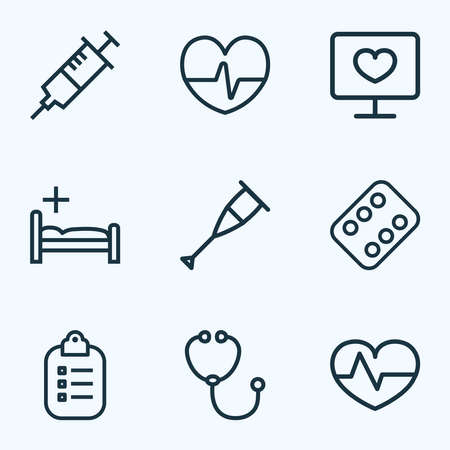 Medicine icons line style set with pulse, injection, vitamin and other syringe elements. Isolated illustration medicine icons.
