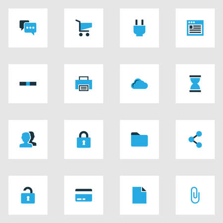 Interface icons colored set with comment, folder, lock and other minus elements. Isolated vector illustration interface icons.