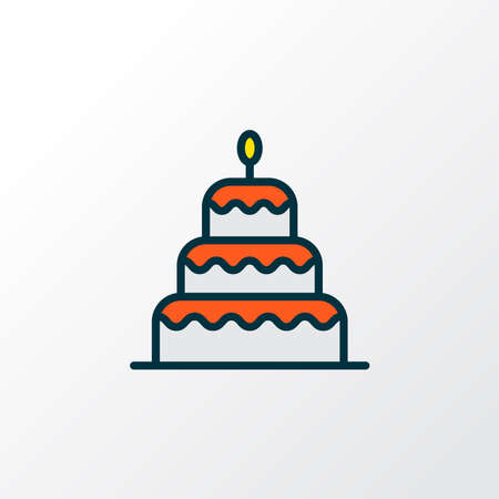 Birthday cake dessert icon colored line symbol. Premium quality isolated cake element in trendy style.