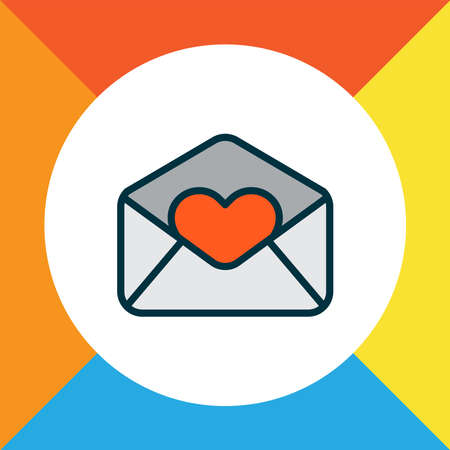 Love letter icon colored line symbol. Premium quality isolated heart mail element in trendy style. Vettoriali