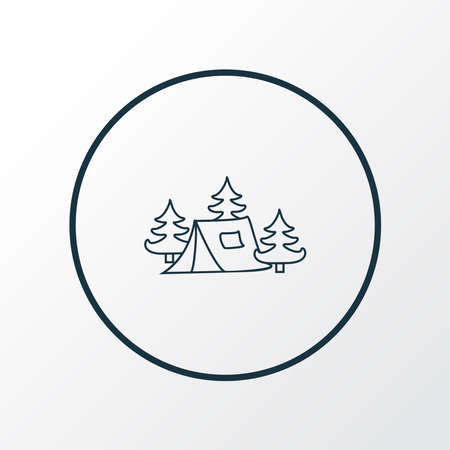 Camping tent icon line symbol. Premium quality isolated tourism element in trendy style.
