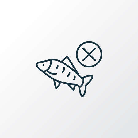 No fish icon line symbol. Premium quality isolated seafood element in trendy style.