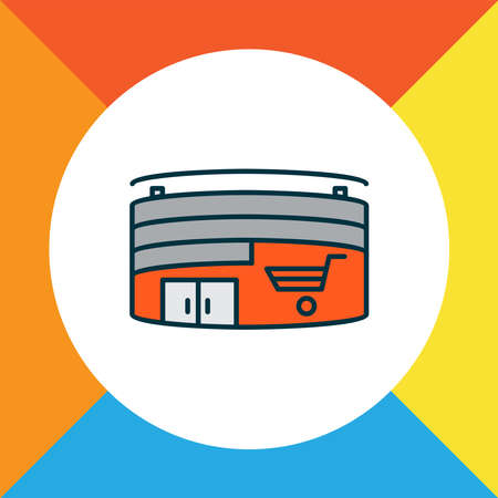 Shopping mall icon colored line symbol. Premium quality isolated hypermarket element in trendy style.