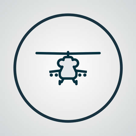 Military helicopter icon colored line symbol. Premium quality isolated aviation element in trendy style.