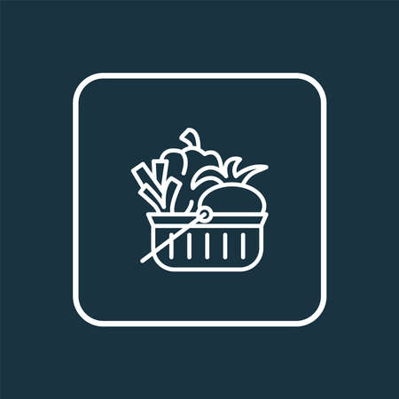 Vegan shopping basket icon line symbol. Premium quality isolated buying vegetable element in trendy style.