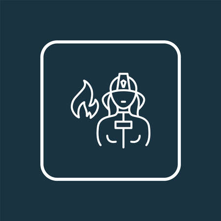 Firefighter icon line symbol. Premium quality isolated firewoman element in trendy style.