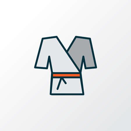 Kimono icon colored line symbol. Premium quality isolated karate element in trendy style. 向量圖像