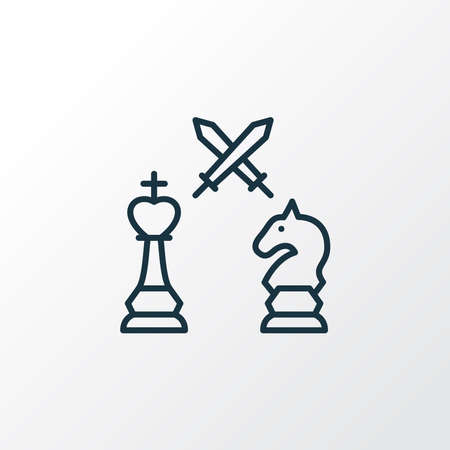 Tactical icon line symbol. Premium quality isolated king against knight element in trendy style.
