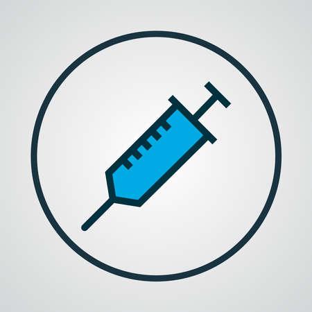 Syringe icon colored line symbol. Premium quality isolated vaccine element in trendy style.