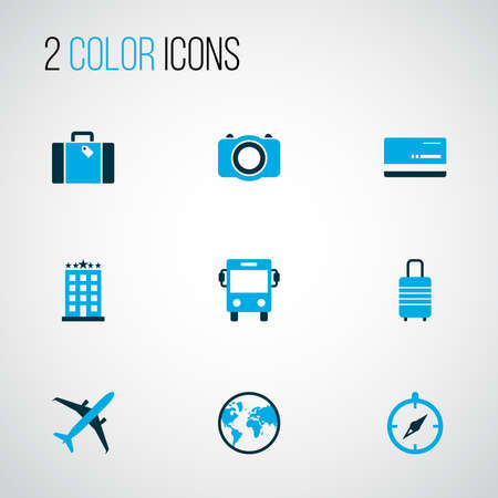 Journey icons colored set with magnet navigation,  planet and other photo device elements. Isolated vector illustration journey icons. 向量圖像