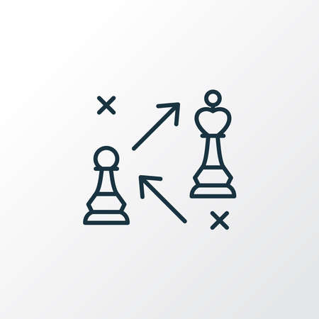 Strategy icon line symbol. Premium quality isolated pawn against king element in trendy style.