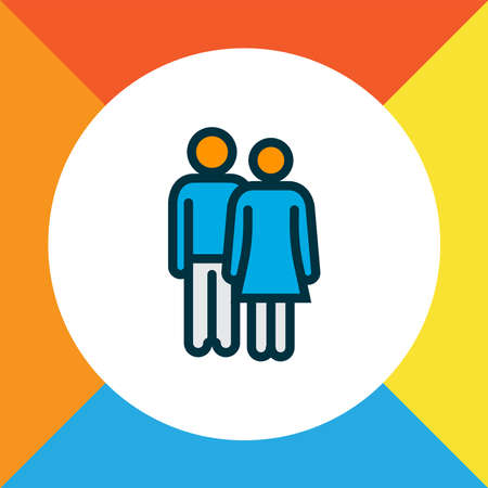 Couple icon colored line symbol. Premium quality isolated lovers element in trendy style.
