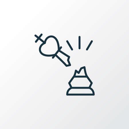 Broken king icon line symbol. Premium quality isolated design element in trendy style.