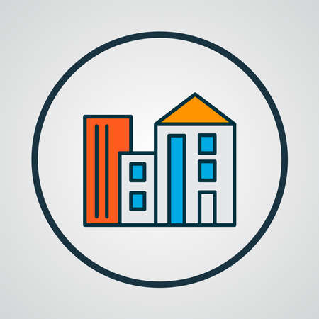 Building icon colored line symbol. Premium quality isolated apartment element in trendy style.
