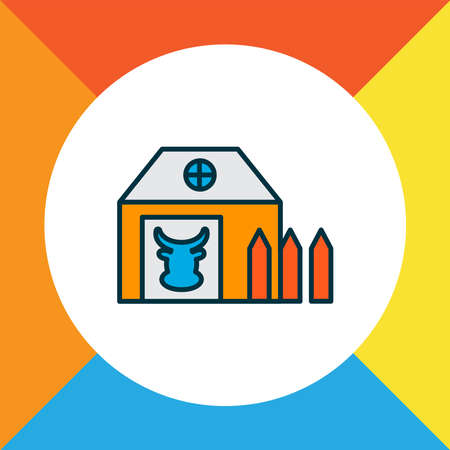 Farm house icon colored line symbol. Premium quality isolated barn element in trendy style. 向量圖像