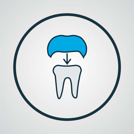 Dental crown icon colored line symbol. Premium quality isolated alumina element in trendy style.