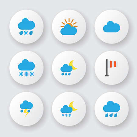 Climate icons flat style set with sun, cloudy, rainy and other drizzles elements. Isolated vector illustration climate icons. 向量圖像