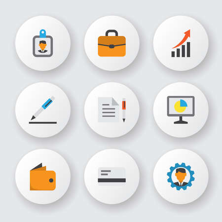 Business icons flat style set with briefcase, manager, growing chart and other increasing elements. Isolated vector illustration business icons.
