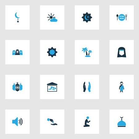 Religion icons colored set with prayer, believer, shawl and other room elements. Isolated vector illustration religion icons. 向量圖像