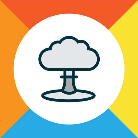 Nuclear explosion icon colored line symbol. Premium quality isolated explosive element in trendy style.