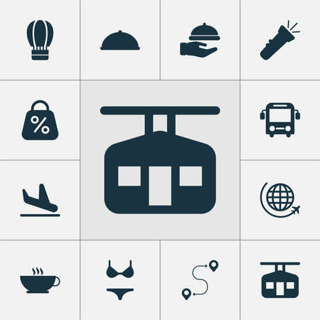 Travel icons set with flashlight, route, flight and other cappuccino elements. Isolated vector illustration travel icons.