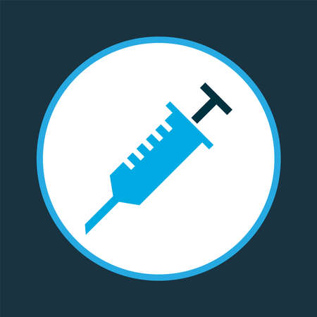 Injection icon colored symbol. Premium quality isolated syringe element in trendy style.
