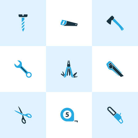 Handtools icons colored set with multi tool, chainsaw, bolt and other axe elements. Isolated vector illustration handtools icons.
