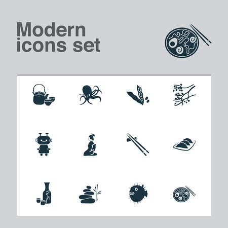 Culture icons set with geisha, puffer fish, balance stones and other ceramic elements. Isolated vector illustration culture icons. 向量圖像