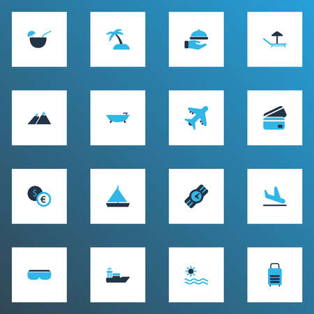 Tourism icons colored set with bathroom, ship, sea and other vessel elements. Isolated vector illustration tourism icons.
