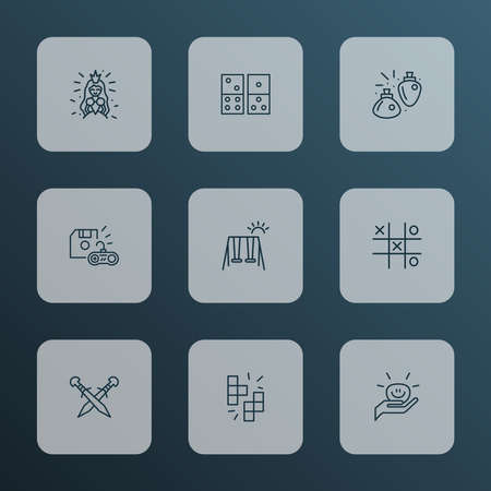 Activity icons line style set with golf, shooting game, puzzles and other tee elements. Isolated vector illustration activity icons.