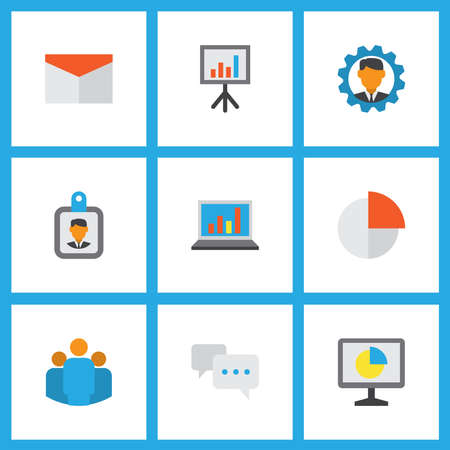 Job icons flat style set with conversation, identification, circle graph and other diagram elements. Isolated vector illustration job icons. 向量圖像