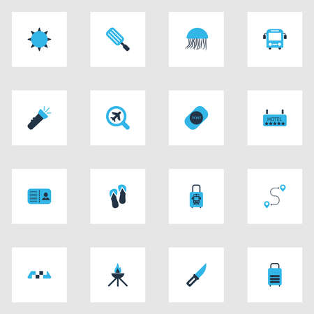 Journey icons colored set with flashlight, ticket, suitcase and other   elements. Isolated vector illustration journey icons.