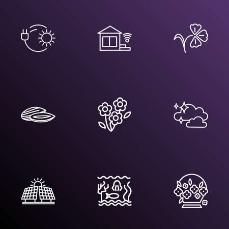 Harmony icons line style set with innovation, sequoia, acacia flower and other bulb elements. Isolated vector illustration harmony icons.